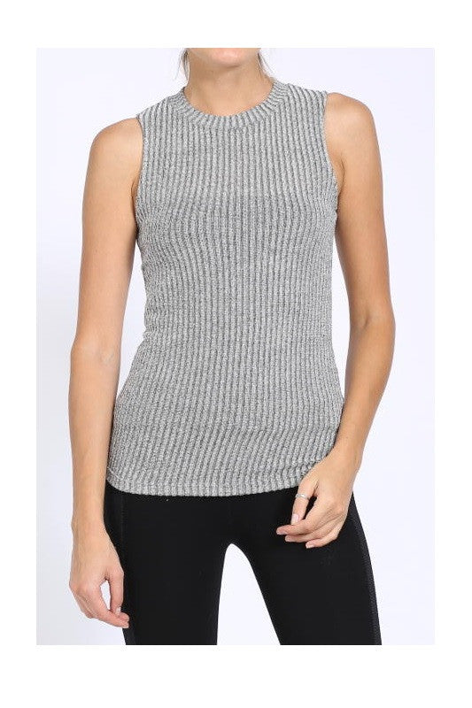 Ribbed Gray Top, , Tops, Essentials, New, Bayberry Co. - 1