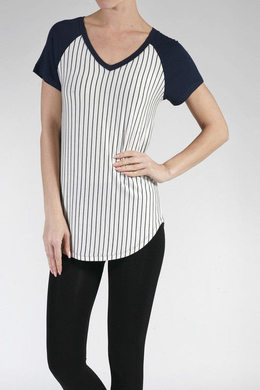 Pinstripe Baseball Tee - Navy, , New, Tops, Bayberry Co.