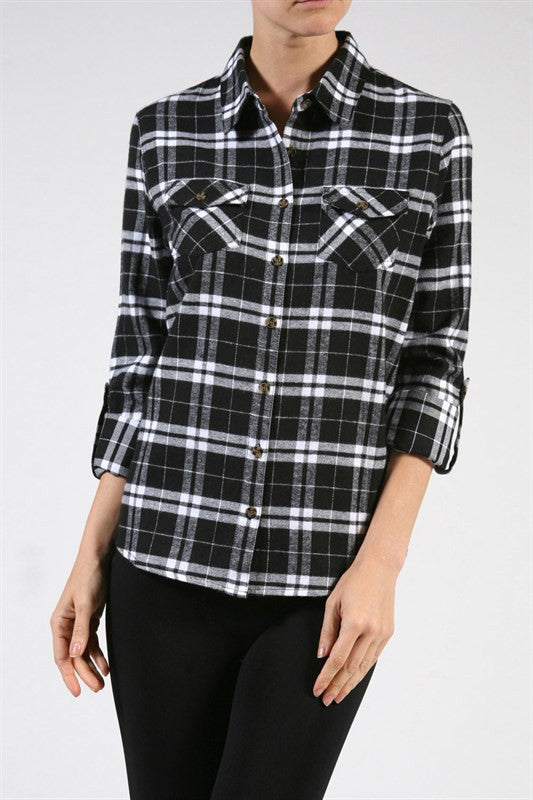 Plaid Flannel Shirt - Black, , Tops, New, Bayberry Co. - 1