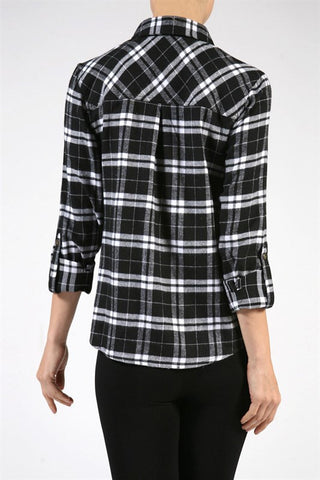 Plaid Flannel Shirt - Black, , Tops, New, Bayberry Co. - 2