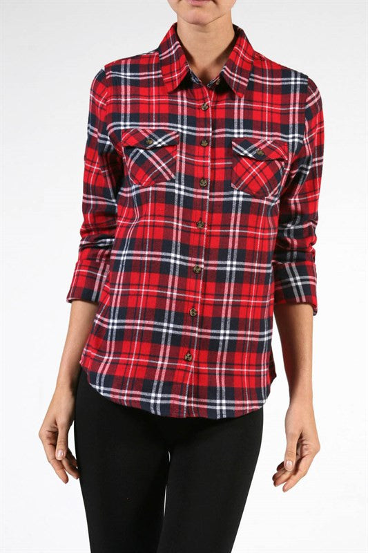 Plaid Flannel Shirt - Red, , Tops, New, Bayberry Co. - 1