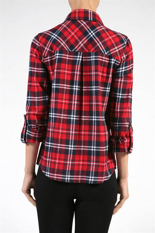 Plaid Flannel Shirt - Red, , Tops, New, Bayberry Co. - 2
