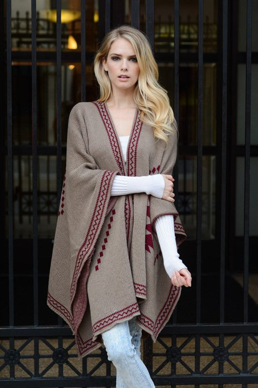 Tribal Knit Poncho - Mocha/Red, , Tops, Outerwear, Sweaters, New, Bayberry Co. - 1
