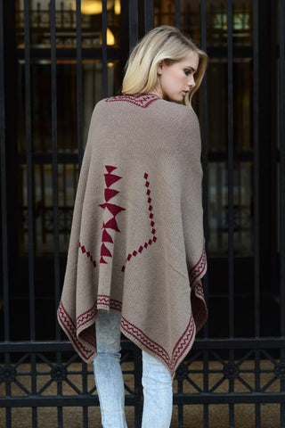 Tribal Knit Poncho - Mocha/Red, , Tops, Outerwear, Sweaters, New, Bayberry Co. - 2