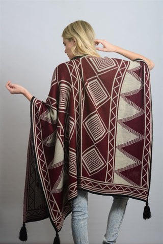 Diamond Tassel Poncho - Red/Ivory/Black, , Tops, Outerwear, Sweaters, New, Bayberry Co. - 2