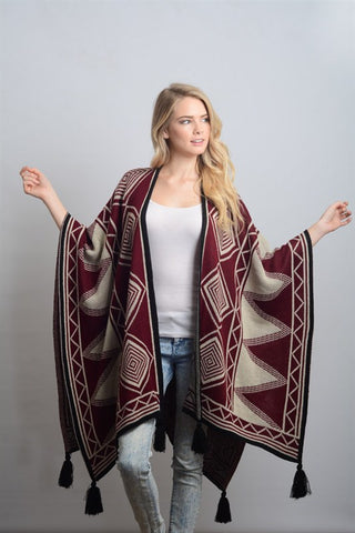 Diamond Tassel Poncho - Red/Ivory/Black