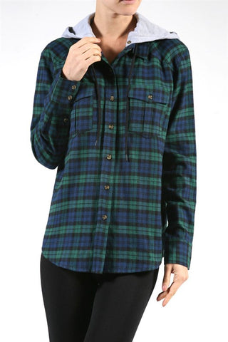 Detachable Hood Flannel Shirt - Green, , Tops, New, Bayberry Co. - 1