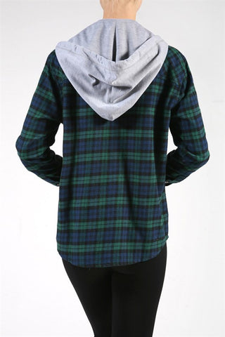 Detachable Hood Flannel Shirt - Green, , Tops, New, Bayberry Co. - 2