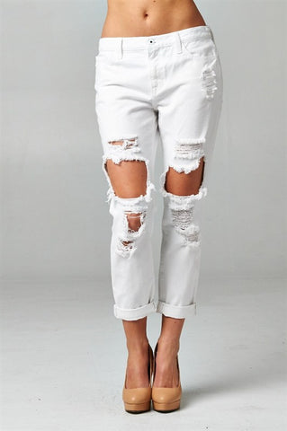 White Destroyed Boyfriend Jeans, , Bottoms, New, Bayberry Co. - 1