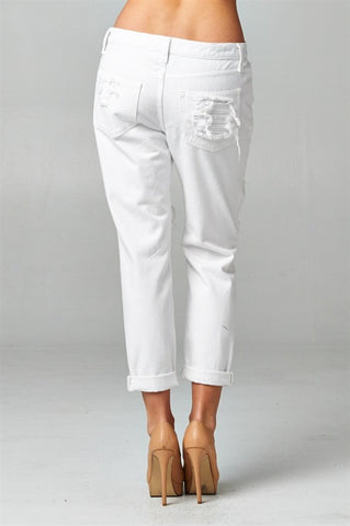 White Destroyed Boyfriend Jeans, , Bottoms, New, Bayberry Co. - 3