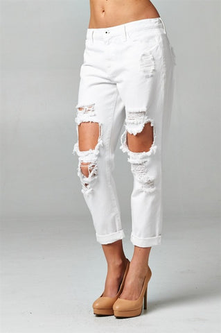 White Destroyed Boyfriend Jeans, , Bottoms, New, Bayberry Co. - 2