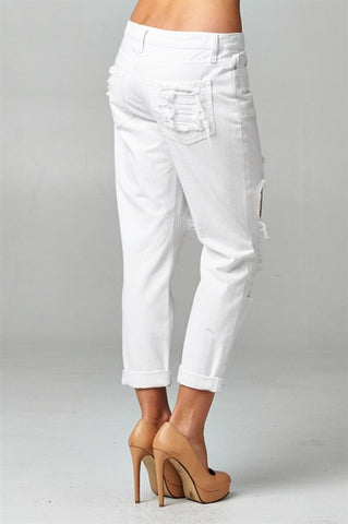 White Destroyed Boyfriend Jeans, , Bottoms, New, Bayberry Co. - 4