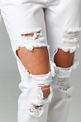 White Destroyed Boyfriend Jeans, , Bottoms, New, Bayberry Co. - 5