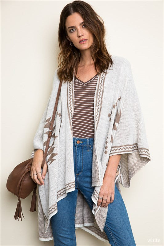 Tribal Knit Poncho - Cream/Mocha, , Tops, Outerwear, Sweaters, New, Bayberry Co. - 1