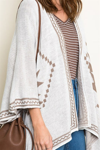 Tribal Knit Poncho - Cream/Mocha, , Tops, Outerwear, Sweaters, New, Bayberry Co. - 4