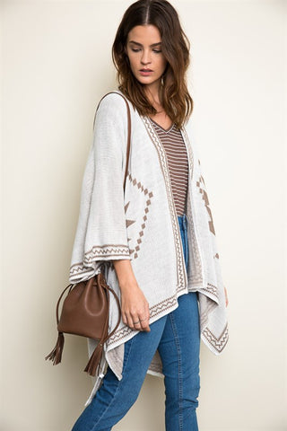 Tribal Knit Poncho - Cream/Mocha, , Tops, Outerwear, Sweaters, New, Bayberry Co. - 3
