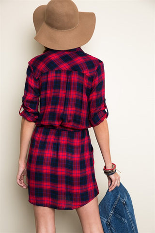 Plaid Shift Dress - Red/Navy, , Dresses, New, Bayberry Co. - 3