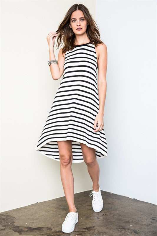 Striped Knit Dress - Black/White, , Dresses, New, Bayberry Co. - 1