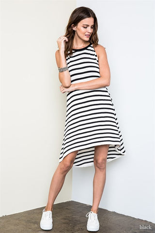 Striped Knit Dress - Black/White, , Dresses, New, Bayberry Co. - 2