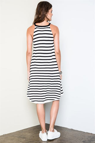 Striped Knit Dress - Black/White, , Dresses, New, Bayberry Co. - 4