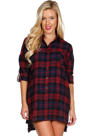 Oversized Plaid Tunic Flannel, , Tops, New, Bayberry Co. - 2