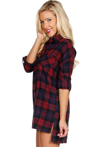 Oversized Plaid Tunic Flannel, , Tops, New, Bayberry Co. - 4