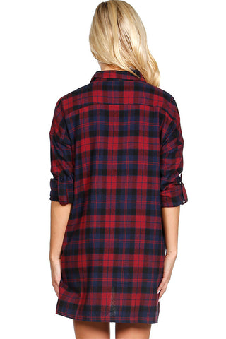 Oversized Plaid Tunic Flannel, , Tops, New, Bayberry Co. - 5