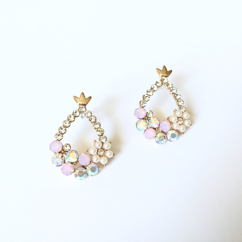 Crystal Crown Earrings, , sale, jewelry, Bayberry Co.