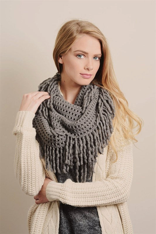 Tassel Infinity Scarf - Gray, , Winter, scarf, new, Bayberry Co.