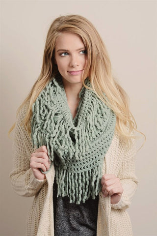 Tassel Infinity Scarf - Dusty Mint