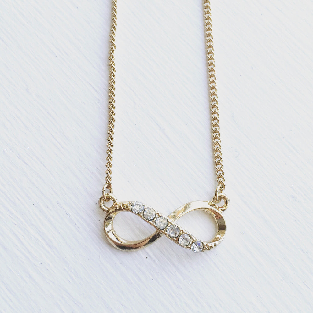 Infinity Rhinestone Necklace - Gold, , sale, jewelry, Bayberry Co. - 1