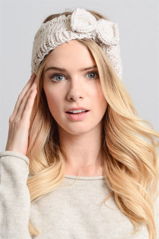 Knit Bow Headband - Ivory