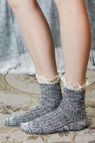 Crochet Ruffle Socks - Assorted Colors