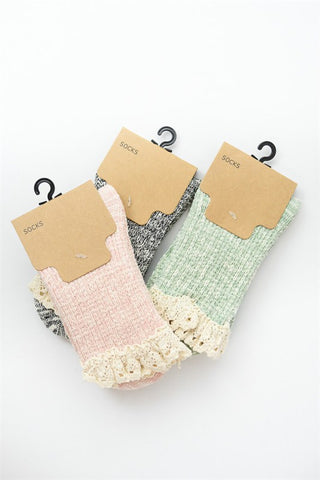 Crochet Ruffle Socks - Assorted Colors, , Winter, Socks, Hosiery, new, Bayberry Co. - 5