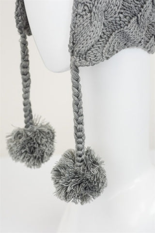 Cable Knit Earflap Beanie - Gray, , Winter, Hats, new, Bayberry Co. - 3