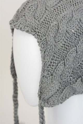 Cable Knit Earflap Beanie - Gray, , Winter, Hats, new, Bayberry Co. - 2