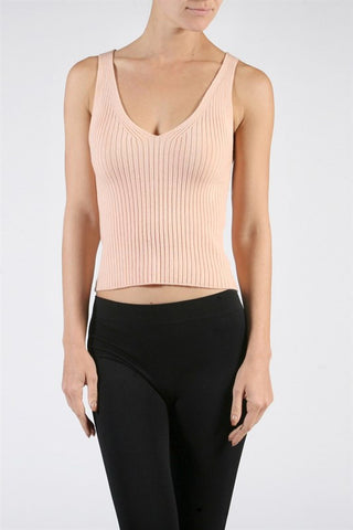 Ribbed Knit Crop Top - Peach, , Tops, New, Bayberry Co. - 2