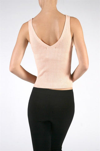 Ribbed Knit Crop Top - Peach, , Tops, New, Bayberry Co. - 4