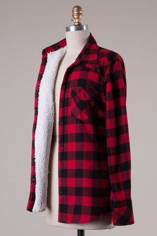 Faux Fur Lined Flannel - Red/Black, , Tops, New, Bayberry Co. - 1