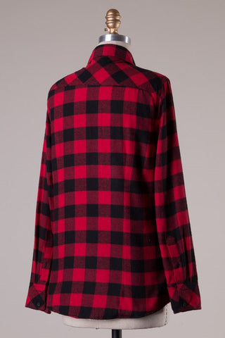 Faux Fur Lined Flannel - Red/Black, , Tops, New, Bayberry Co. - 4