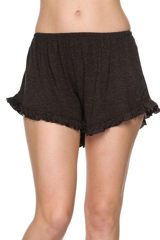 Basic Ruffle Shorts - Charcoal, , New, Bottoms, Bayberry Co. - 2