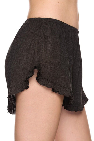Basic Ruffle Shorts - Charcoal, , New, Bottoms, Bayberry Co. - 3