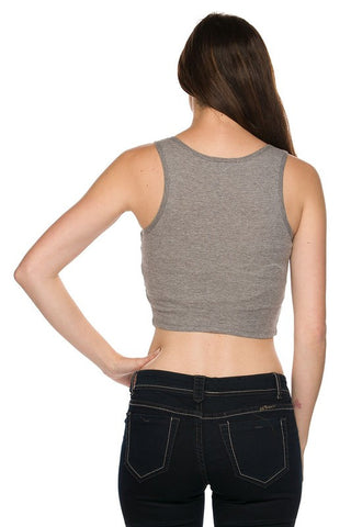 Ribbed Lace Up Crop Top - Gray, , New, Tops, Bayberry Co. - 3