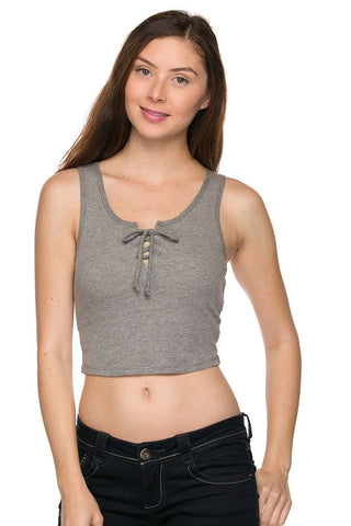 Ribbed Lace Up Crop Top - Gray, , New, Tops, Bayberry Co. - 1