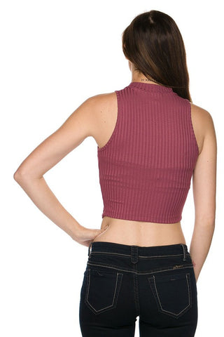 Mock Neck Crop Top - Mauve, , New, Tops, Bayberry Co. - 3