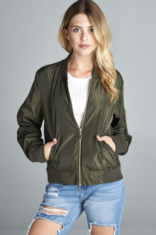 Basic Bomber Jacket - Olive, , Outerwear, New, Bayberry Co. - 1