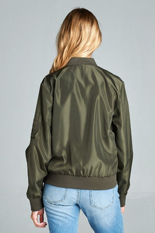 Basic Bomber Jacket - Olive, , Outerwear, New, Bayberry Co. - 2