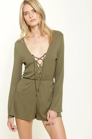 Lila Lace Up Romper - Olive