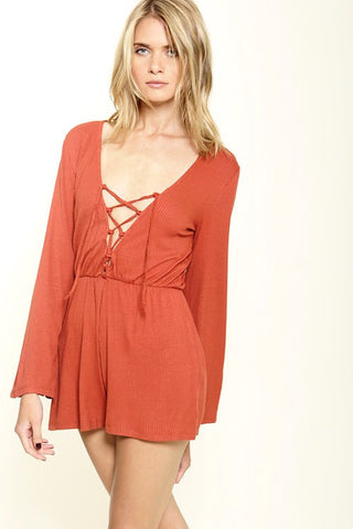 Lila Lace Up Romper - Burnt Orange
