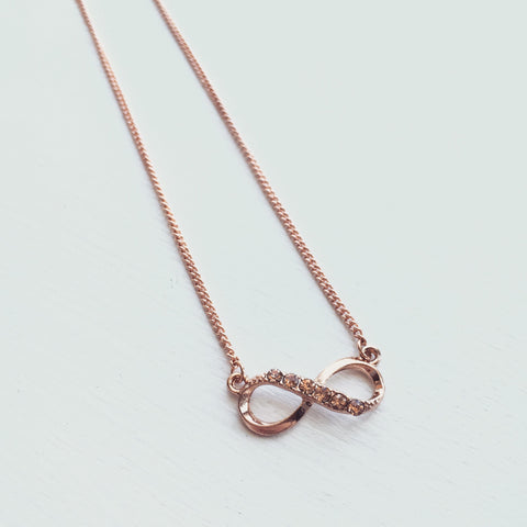 Infinity Rhinestone Necklace - Rose Gold, , sale, jewelry, Bayberry Co. - 1
